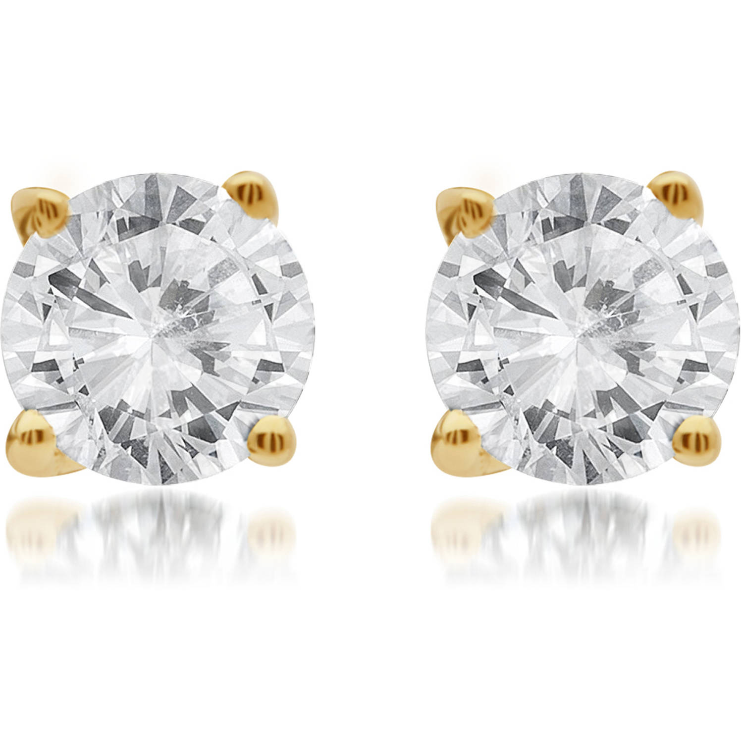 1/4 Carat T.W. Round White Diamond 14kt Yellow Gold Stud Earrings with Gift Box, IGL Certified