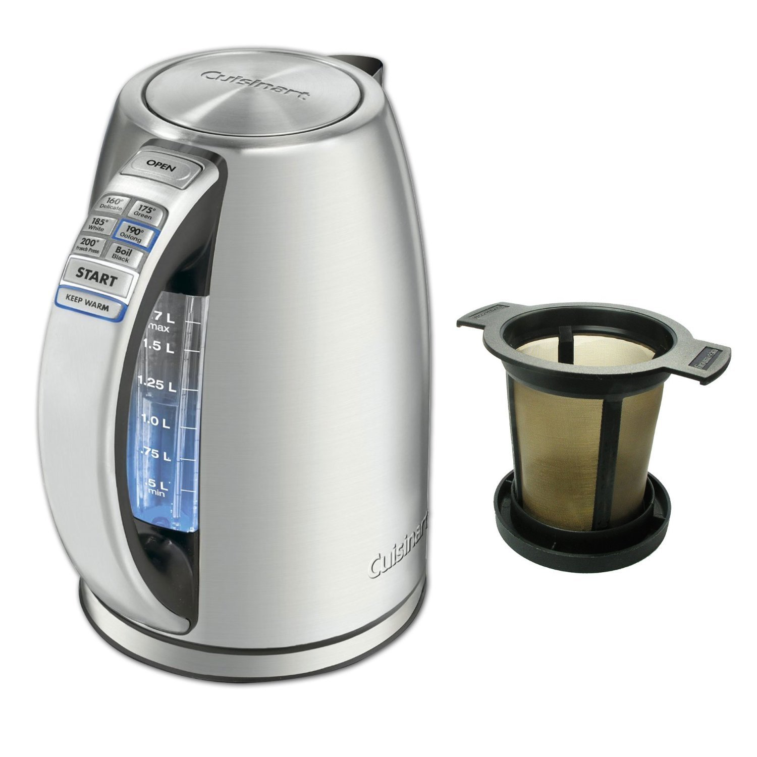 Cuisinart CPK-17 Perfectemp Cordless Electric Kettle with Snap Mesh Tea Ball Infuser (Certified Refurbished) by Cuisinart