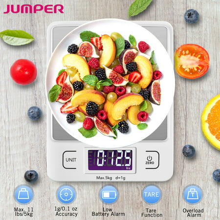 JUMPER Digital Kitchen Scale Multifunction Food Scale, 11 lb 5 kg, LCD Display, Stainless Steel Silver Multifunction Garden Food Cooking Baking Jewelry Scale