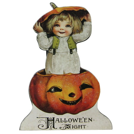 "4.5"" Glittered Child in a Pumpkin Vintage Style Halloween Sign Decoration"