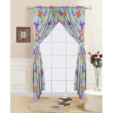 4-PC BUTTERFLY TURQUOISE Kids Bedroom Window Panel Pair, Set of Two Rod  Pocket Curtains 38\