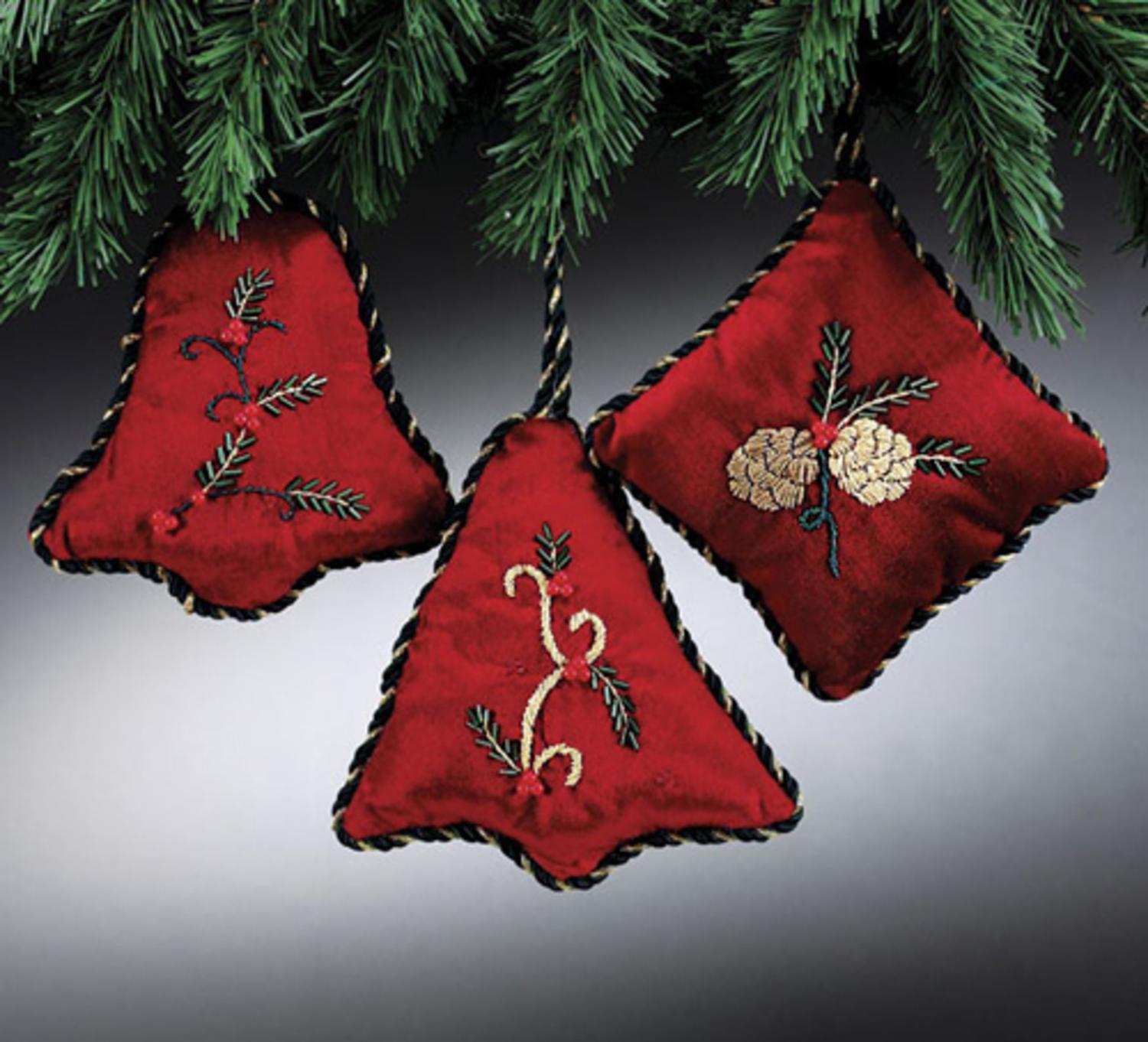 Red Velvet Embroidered & Beaded Holly Berry Christmas Ornament