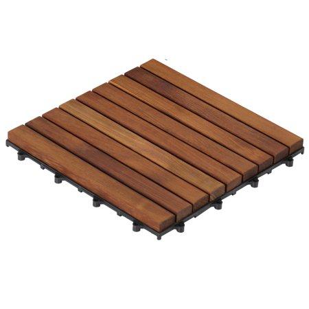 Bare Decor EZ-Floor in Solid Teak Wood, 1 TILE ONLY, Long Slat Teak Hardwood Floor
