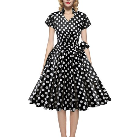 Women Vintage Dress 50S 60S Swing Pinup Retro Casual Housewife Party Ball Fashion Office Short Sleeve Polka - 50s Kids Fashion