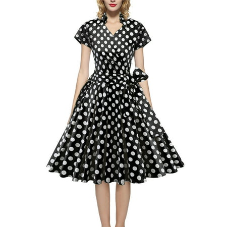 Women Vintage Dress 50S 60S Swing Pinup Retro Casual Housewife Party Ball Fashion Office Short Sleeve Polka Dot - 60s Attire