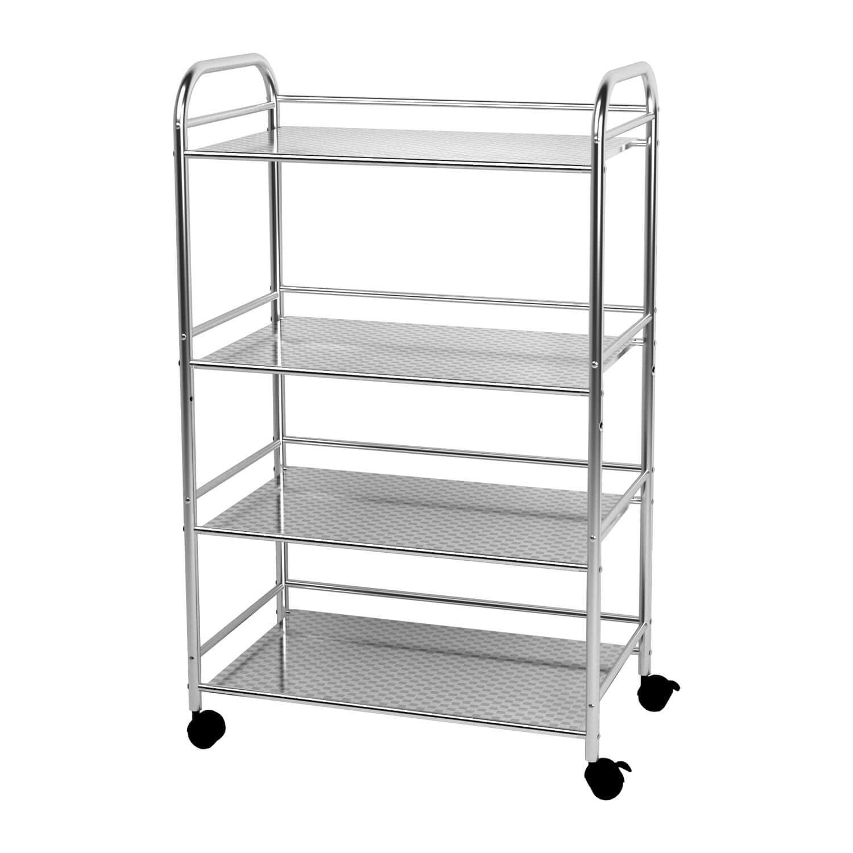 YKEASE 4-Shelf Shelving Units on Wheels Stainless Steel ...