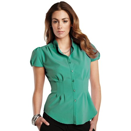 Cotton Mandarin Collar Shirt - Tri-Mountain Women's Mandarin Collar Front Pleats Shirt