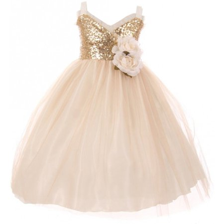Little Girls Dress Sequins Ruffle Trim Layered Tulle Pageant Party Flower Girl Dress Champagne Size 2 (Little Girl Ruffle Dresses)