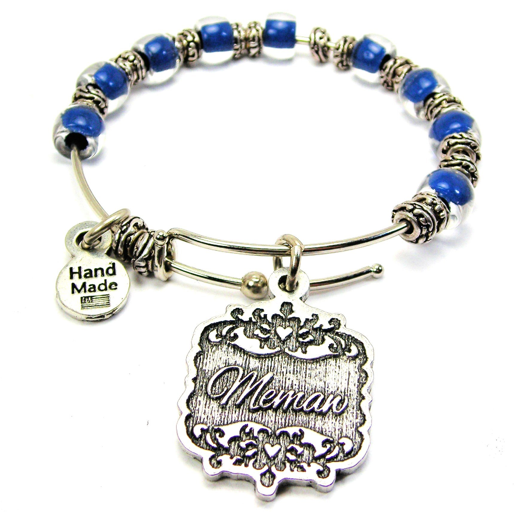 Chubby Chico Charms Memaw Victorian Scroll Beaded 9MM Bangle Bracelet in Sapphire Blue