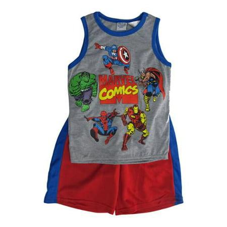 Marvels Little Boys Grey Red Superhero Sleeveless Top 2 Pc Shorts Set 4-7