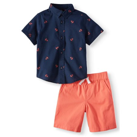 Short Sleeve Button Down & Shorts, 2pc Outfit Set (Toddler - Sacagawea Outfit