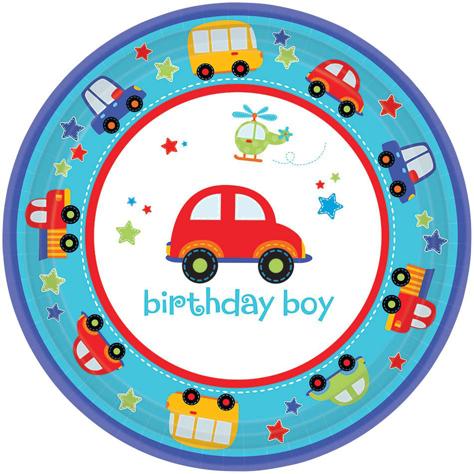 """All Aboard 1st Birthday 7"""" Cake Plates (18 Count) by Amscan"""