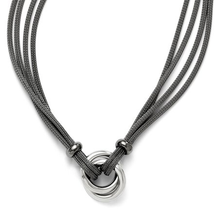 - Two Tone Knot Mesh Necklace in Sterling Silver, 18 Inch