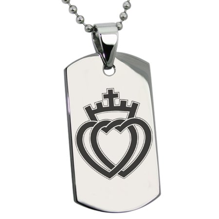 Stainless Steel Crown of Hearts Engraved Dog Tag Pendant Necklace