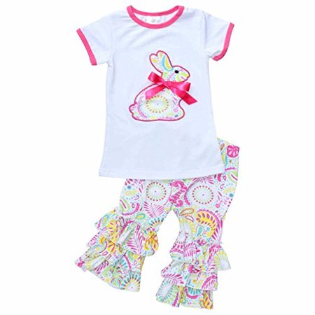 Unique Baby Girls Paisley Easter Bunny Easter Outfit (7/XXL, Pink)