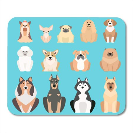 KDAGR Boxer Different Dogs Breed Silhouette Pet Puppy Bulldog Beagle Mousepad Mouse Pad Mouse Mat 9x10 inch