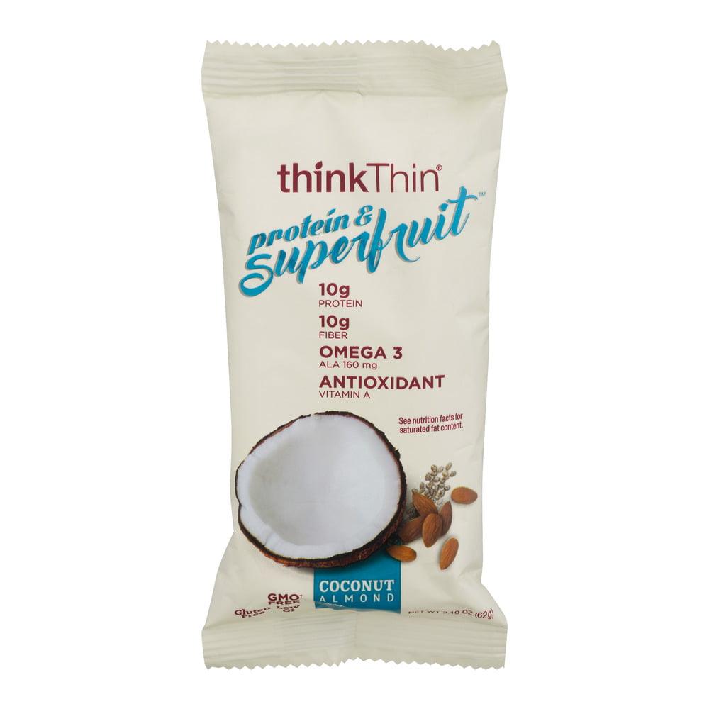 thinkThin Superfruit Protein Bar With 10g Protein & Fiber Coconut Almond Chia Anitoxidant Gluten Free Protein Snack Bar, 2.12 OZ