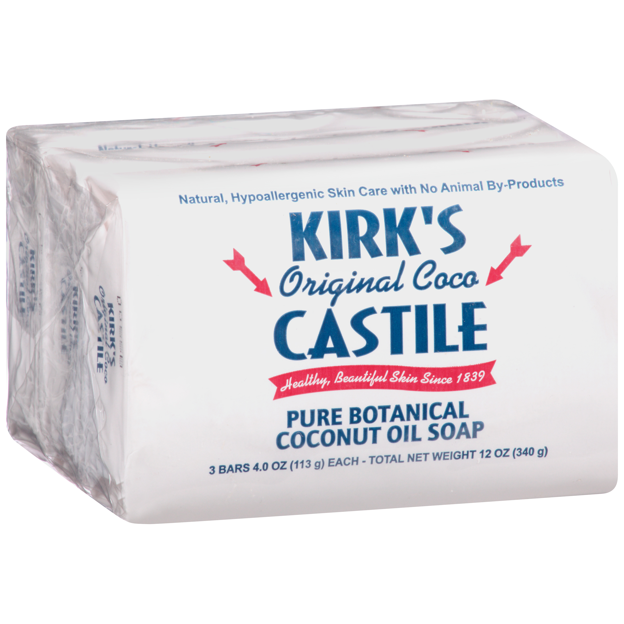 (4 pack) Kirk's Original Coco Castile Natural Bar Soap, 4 oz, 3 count