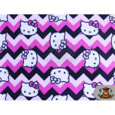 Fleece Printed Antipill Winter Fabric Hello Kitty Chevron Pink / 58