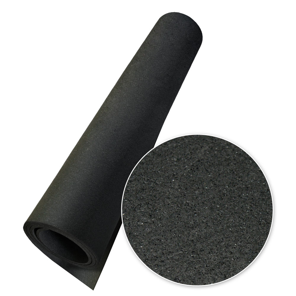 "Rubber-Cal ""Elephant Bark"" Rubber Flooring - 3/8 in. x 4 ft. x 4 ft. - Black"
