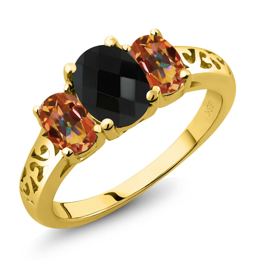 2.12 Ct Oval Checkerboard Black Onyx Ecstasy Mystic Topaz 14K Yellow Gold 3-Stone Ring