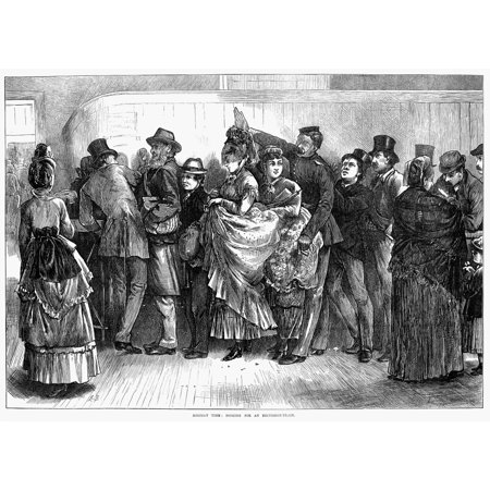 England Ticket Line 1872 Nholiday Time Booking For An Excursion Train Wood Engraving English 1872 Rolled Canvas Art     18 X 24