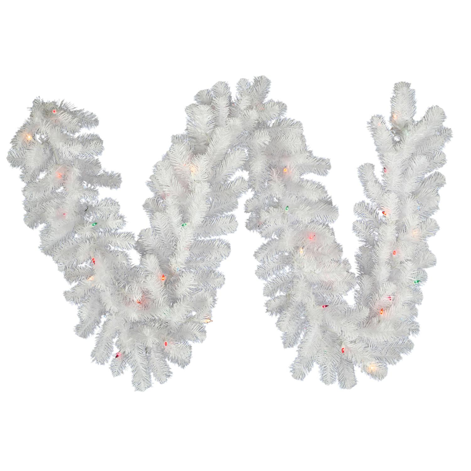 "9' x 12"" Pre-Lit Crystal White Spruce Artificial Christmas Garland - Multi LED"