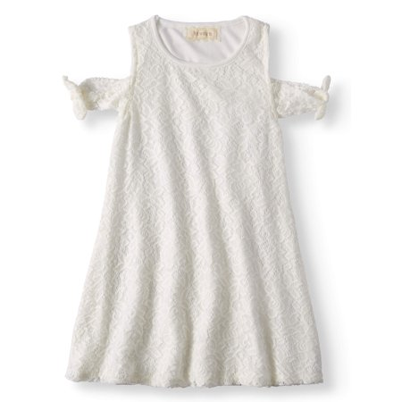 Tied Cold Shoulder Lace Swing Dress (Little Girls & Big Girls)