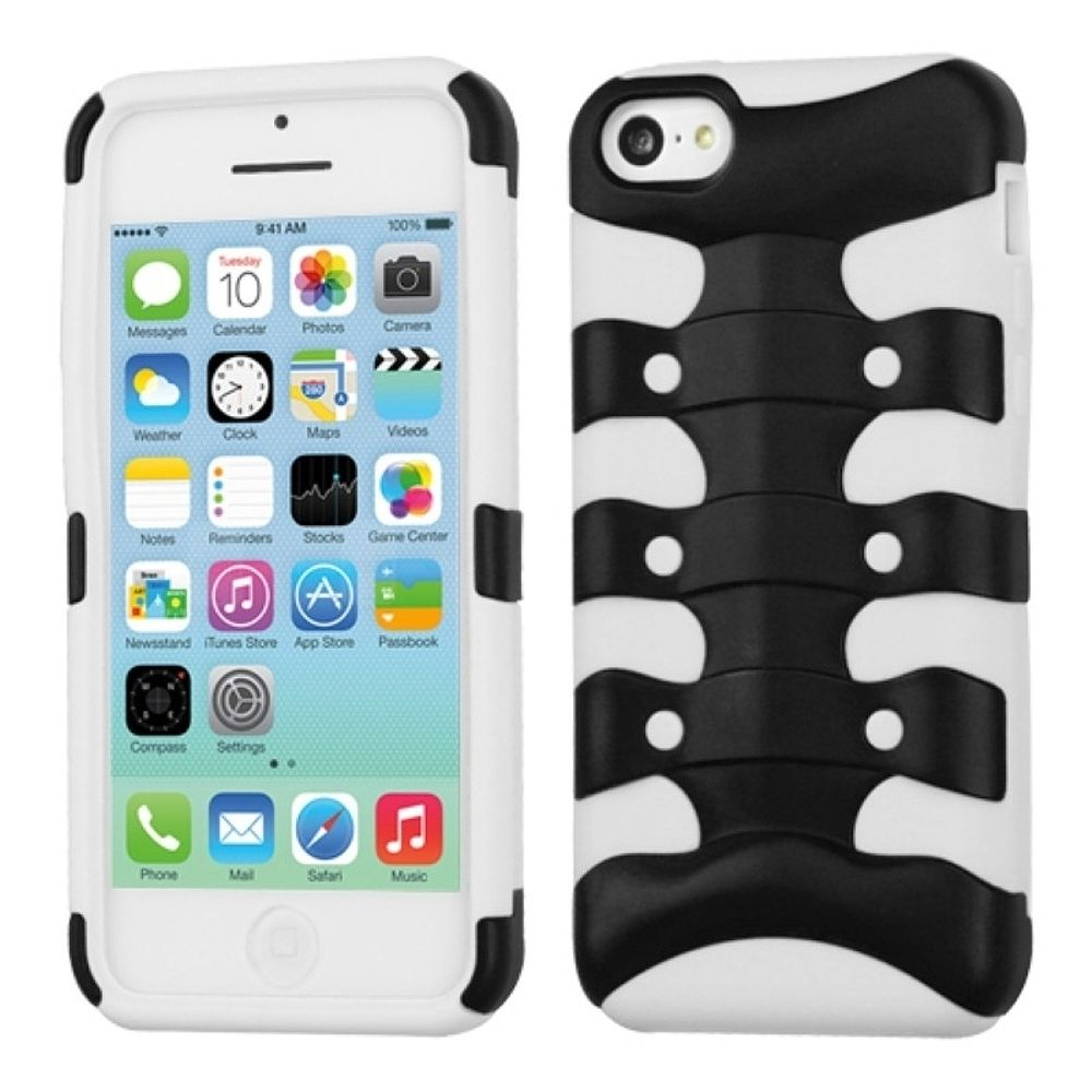 Insten Circuitboard Ribcage Hard Hybrid Rubber Silicone Cover Case For Apple iPhone 5C - White/Black