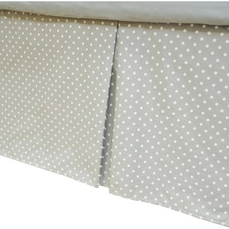 TL Care 100 Percent Cotton Tailored Bed Skirt with Pleat, White with Gray Dot