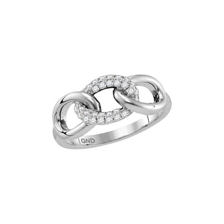 FB Jewels 10kt White Gold Womens Round Diamond Linked Circle Chain Band Ring 1/5 Cttw Gemstone Circle Link