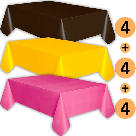 12 Plastic Tablecloths - Brown, Sunshine Yellow, Hot Pink - Premium Thickness Disposable Table Cover, 108 x 54 Inch, 4 Each Color ()