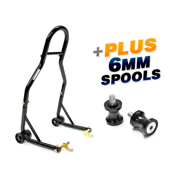 Venom Sport Bike Motorcycle Rear Wheel Swingarm Spool Lift Stand + Low Profile 6mm Black Swingarm Spools (Fits Most Yamaha Bikes)