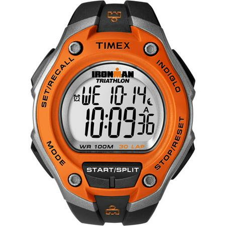Timex Men's Ironman Classic 30 Oversized Black/Orange Watch, Resin Strap