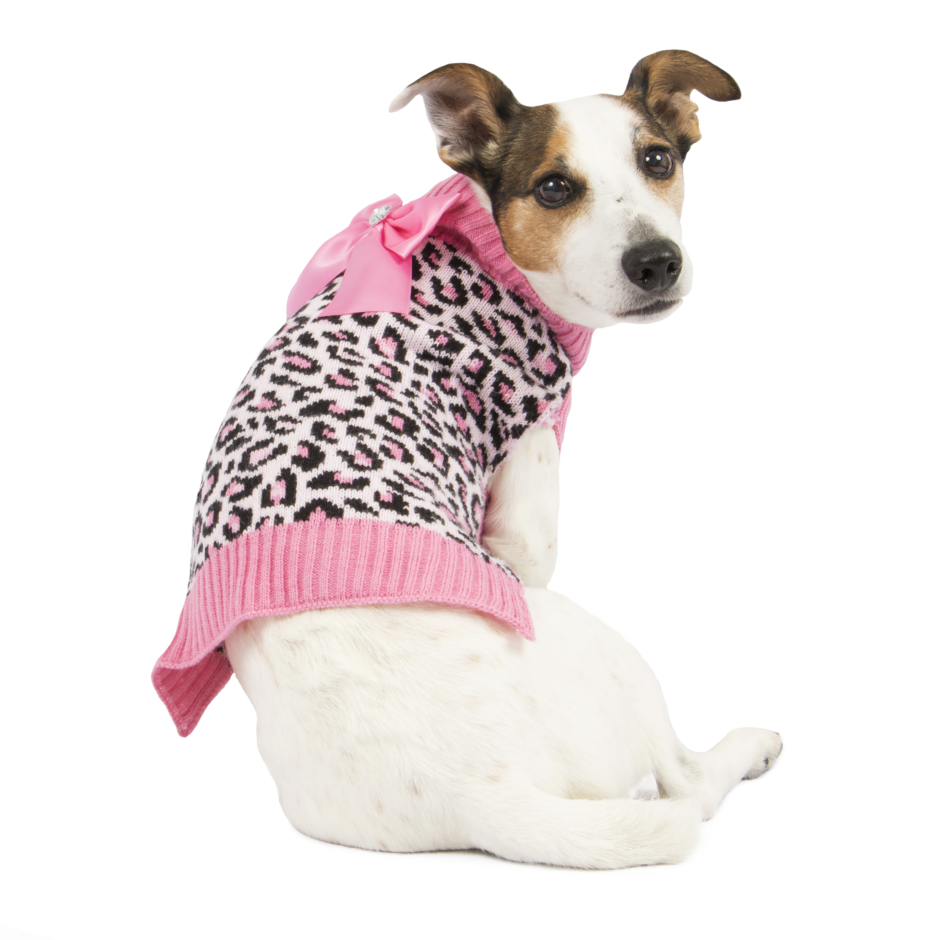 SimplyDog Pink Cheetah Bow Sweater