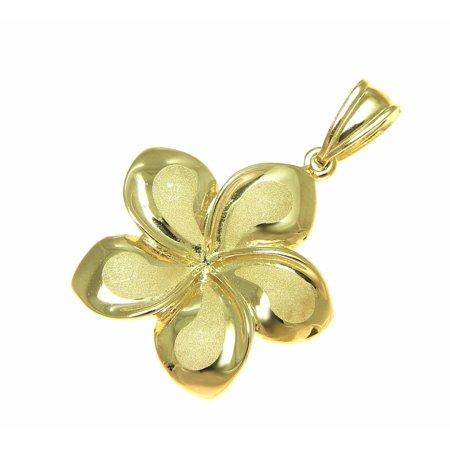 14K solid yellow gold 21mm Hawaiian plumeria flower charm pendant