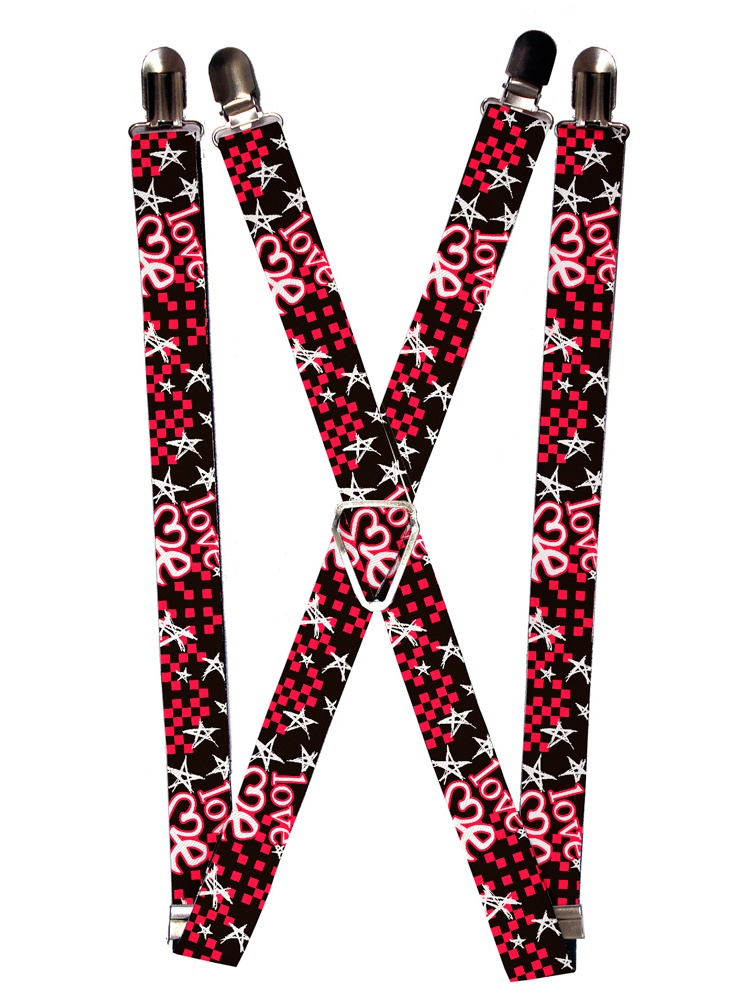 b75c6e02c Buckle Down - Love Me Stars and Checkers on Black Suspenders - Walmart.com
