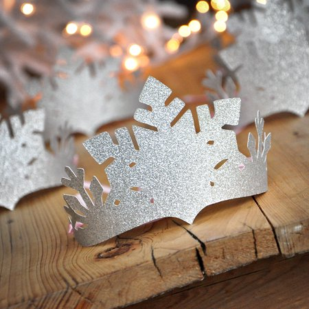 Party City Winter Springs (Winter Wonderland Party Favor Crowns (Set of 5 Crowns). Silver and Baby Pink Snowflake Crowns. Winter Onederland)