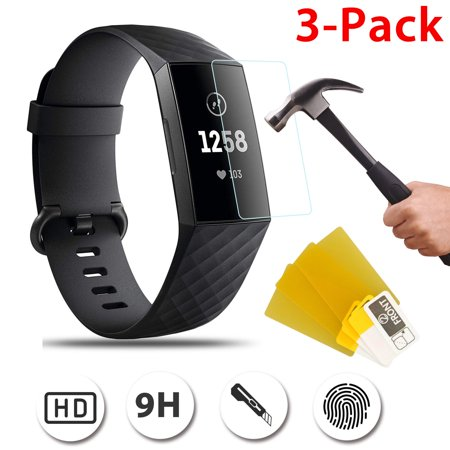 3-pack Screen Protector, Full Coverage Screen Protector for Fitbit Charge 3 Anti-Fingerprint, Anti-Scratch and (Best Screen Protector For Fitbit Surges)