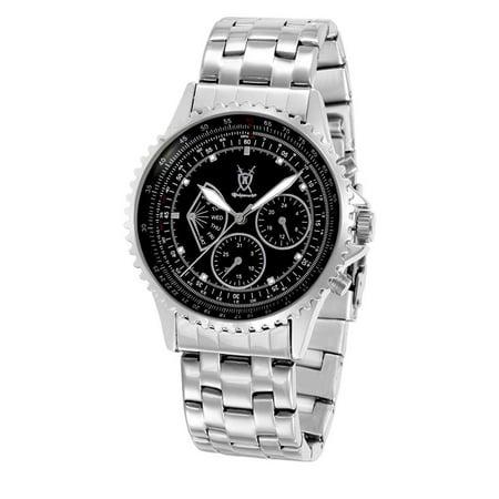 Mens Watch Stainless Steel Bracelet Big Black Dial Multifunction Day Date Reloj de Hombres - Mens Multifunction Bracelet Watch