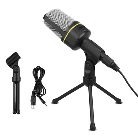 EEEkit PC Microphone Portable Condenser Microphone 3.5mm Plug & Play with Tripod Stand Home Studio Recording Microphone for Computer, Smartphone, iPad, Podcasting Karaoke, YouTube, Skype,