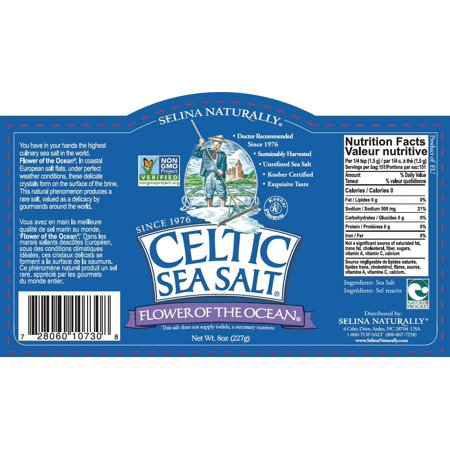 Selina Naturally Celtic Sea Salt, Flower of the Ocean, 8 Oz