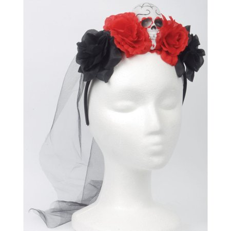 Loftus Day of the Dead Sugar Skull Headband, Red White, One-Size - Dread Headband