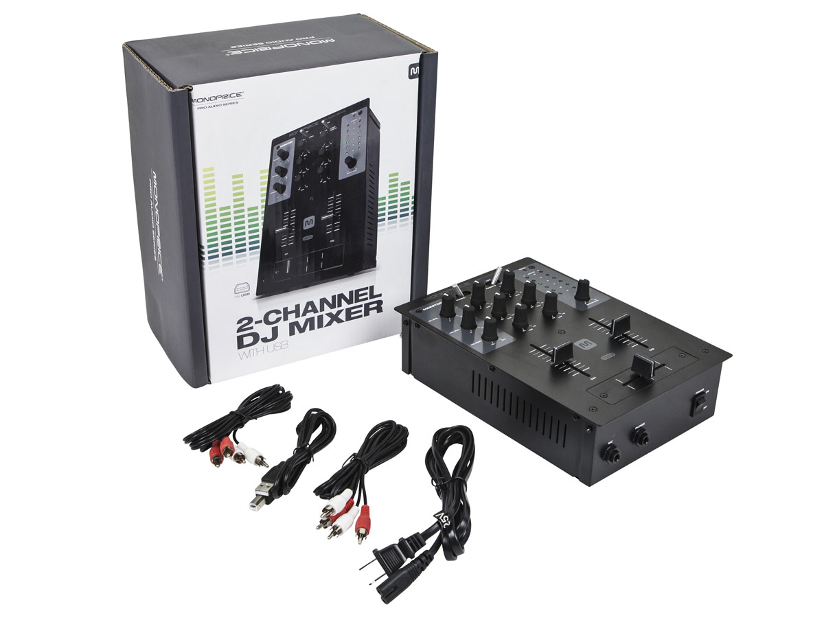 MONOPRICE 2-Channel DJ Mixer with USB