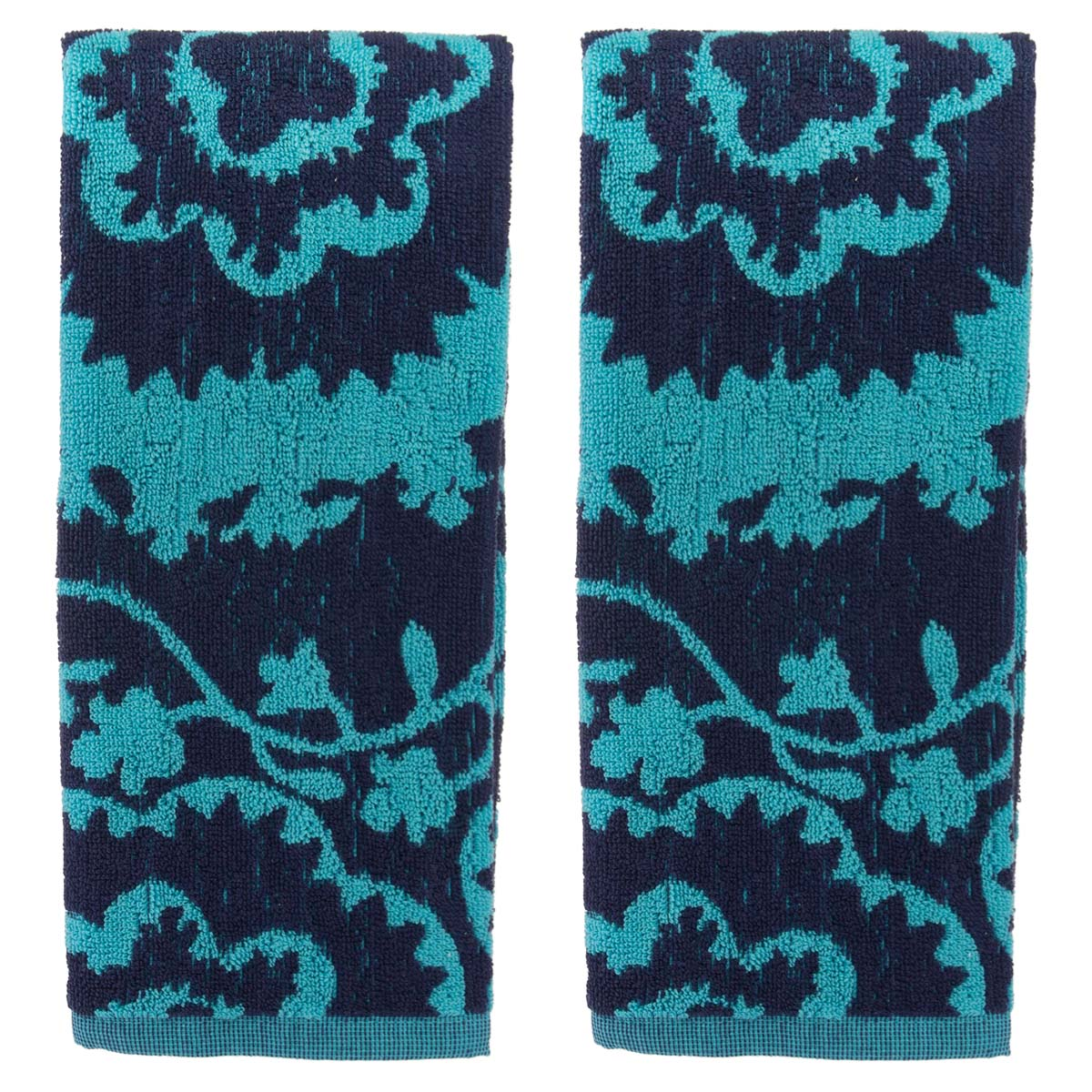 Oui By French Bull (2 Pack) Kitchen Towels Set Colorful Cotton Terry Hand Towel Modern Dishcloths