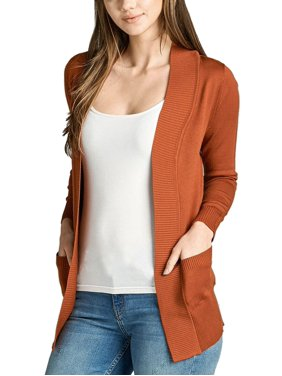 ba11790b319 Free shipping. Product Image Women s Long Sleeve Knit Rib Open Front Solid  Sweater Cardigan-Plus Size Available (FAST
