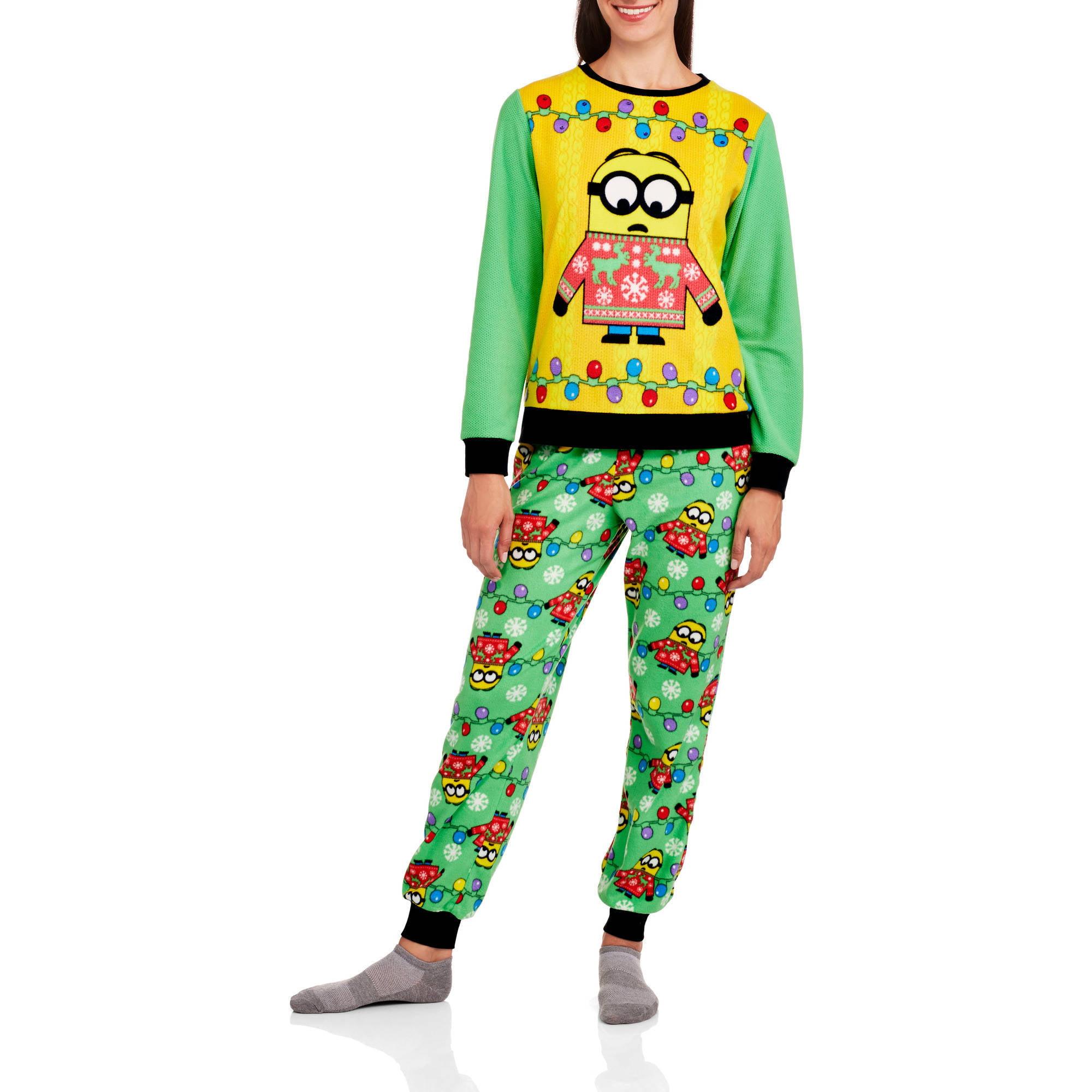 Minion Women's License Pajama Ugly Sweater Fashion  2 Piece Sleepwear Set