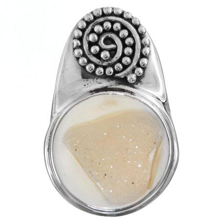 Natural Agate Druzy Filigree Handmade 925 Sterling Silver Pendant, 1 3/16