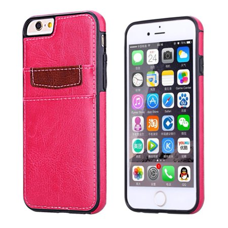 Pink Leather Phone Case Luxury Wallet Cover Card ID Slots Protective Skin B8P for iPhone 6 6S (Protective Leather Skin)