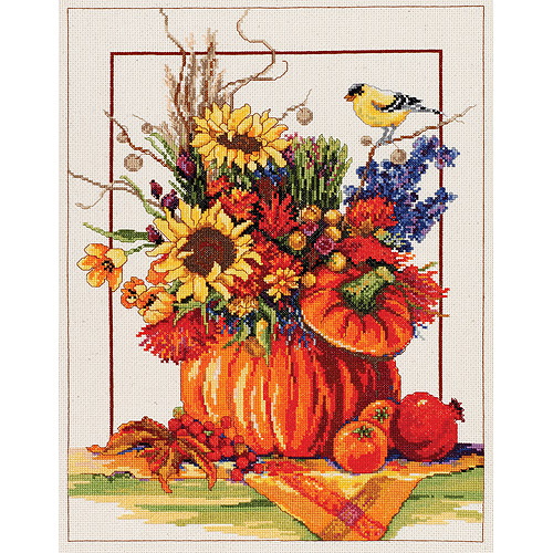 "Pumpkin Floral Arrangement Counted Cross Stitch Kit, 12"" x 16"", 14-count"